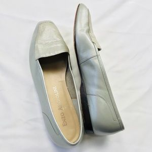 Enzo Angiolini Liberty Silver Grey leather Loafers